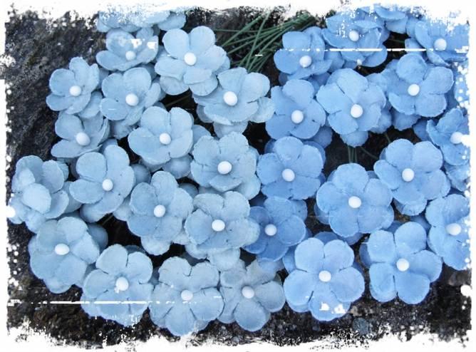 Bilde av Søte blomster, vintage blå
